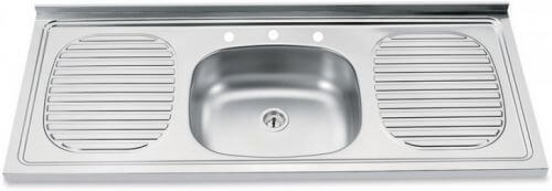 Single center with holes stainless steel drainboard sink bertolini