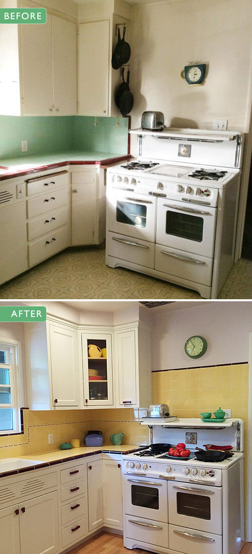 Carolyn 39 S Gorgeous 1940s Kitchen Remodel Featuring Yellow Tile With Maroon Trim Retro Renovation