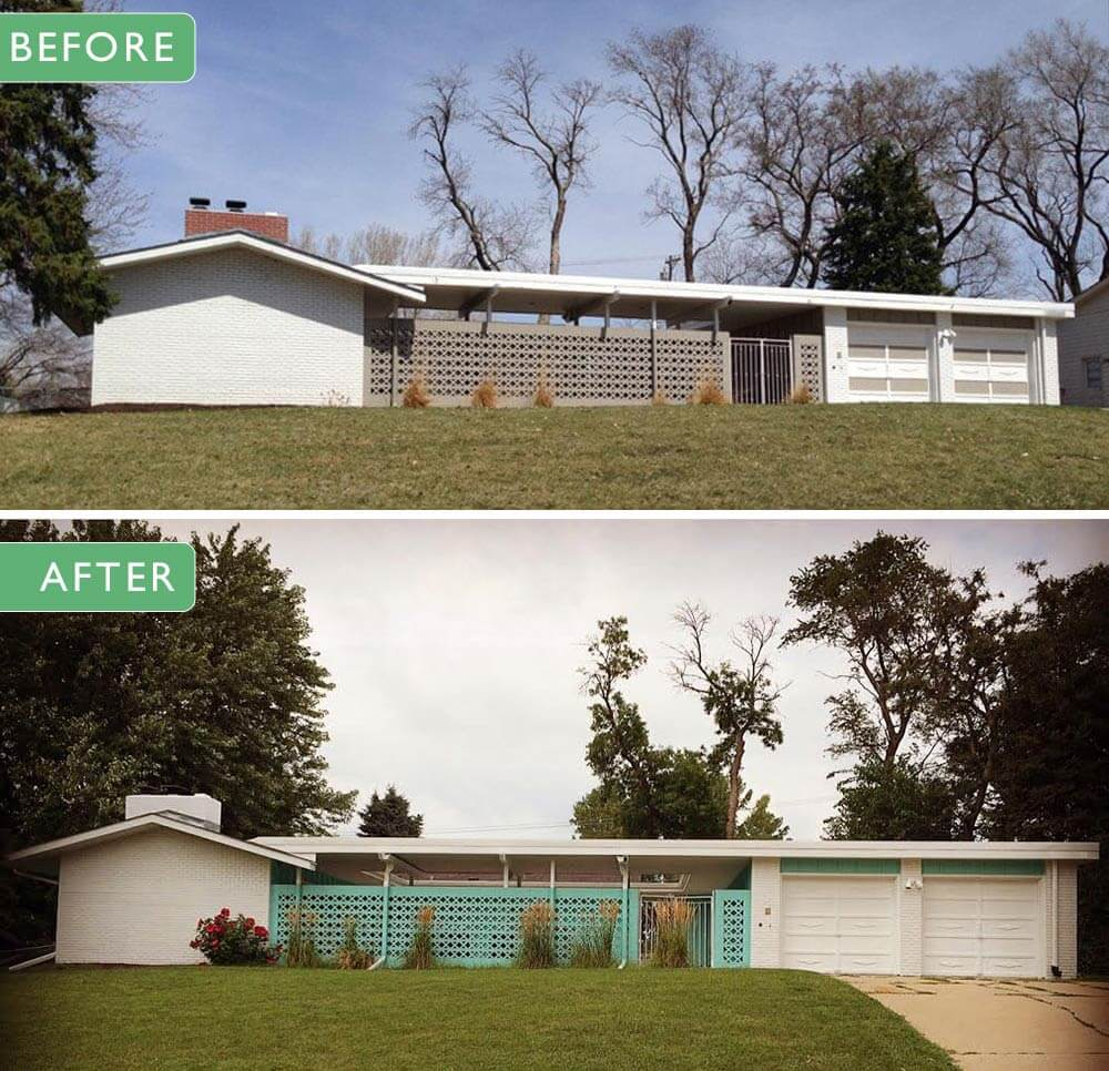 Alesha restores the original 1961 exterior paint colors on for Building a mid century modern home