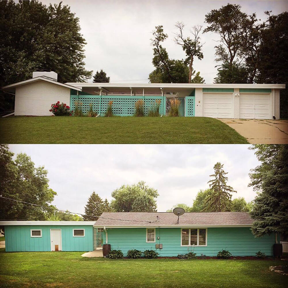 Alesha restores the original 1961 exterior paint colors on for Mid century modern house