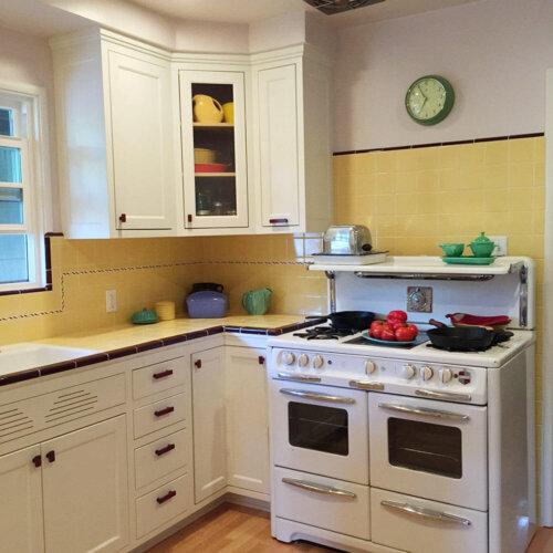 vintage yellow kitchen