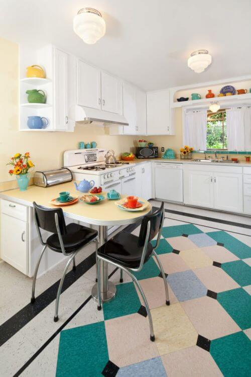 Margie grace 39 s perfect little 1940s style kitchen for Perfect tiles for kitchen