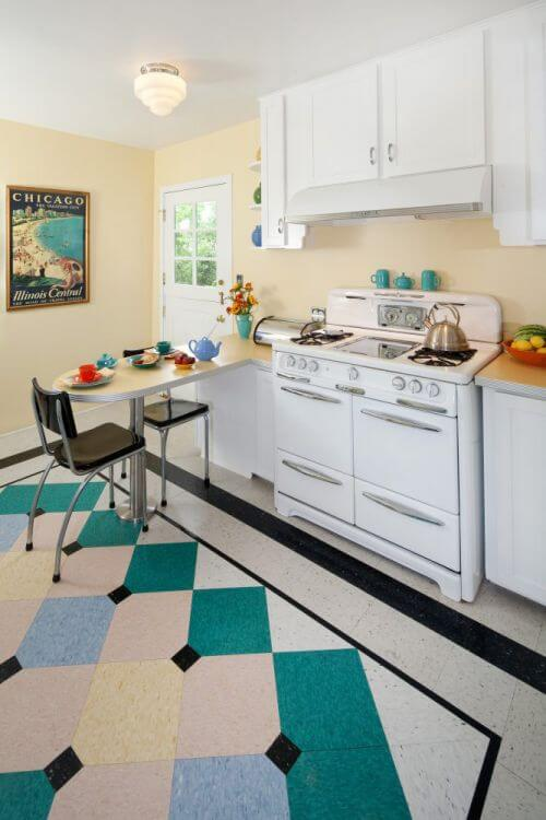 Margie grace 39 s perfect little 1940s style kitchen - Retro flooring kitchen ...