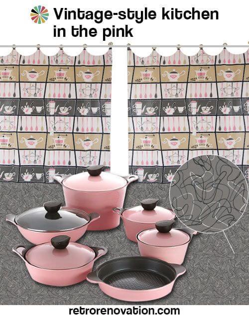 vintage style pink kitchen