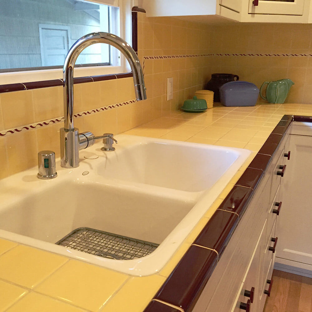 Tiling A Kitchen Countertop Carolyns Gorgeous 1940s Kitchen Remodel Featuring Yellow Tile