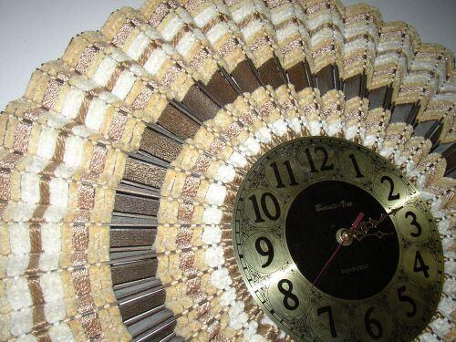 retro woven wood sunburst clock