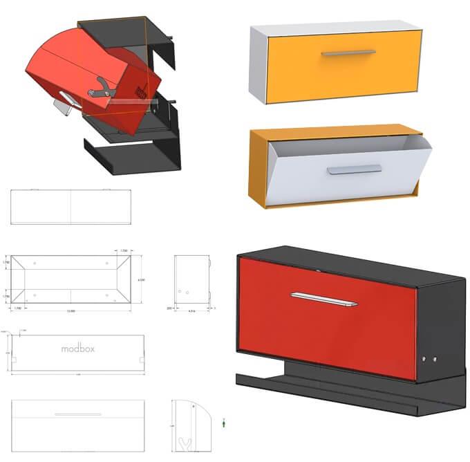 Modbox New Midcentury Modern Wall Mount Mailbox On