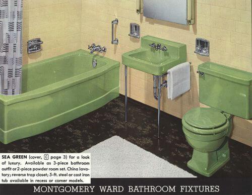 vintage green bathroom