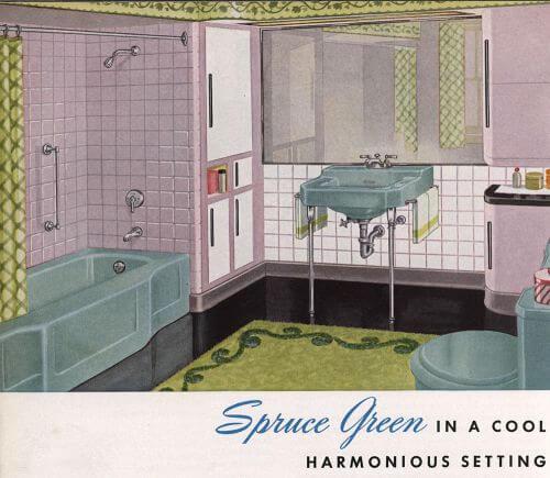 spruce green bathroom