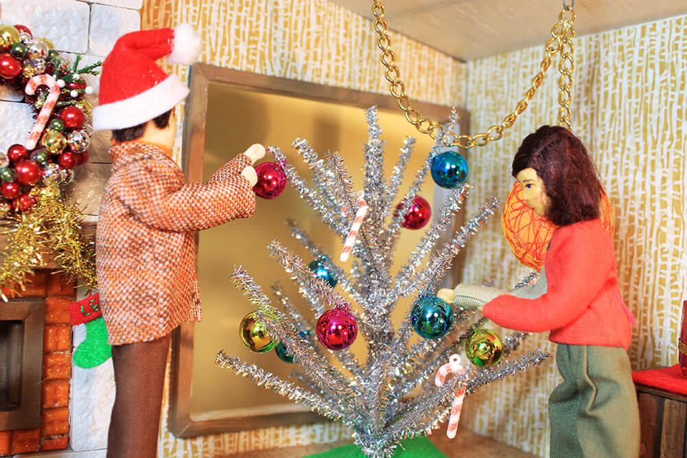 retro dollhouse christmas