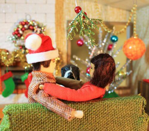 retro dollhouse christmas