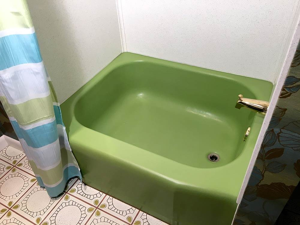 Kathy S New Old Glam Bathroom Revival Featuring An Kohler Fresh Green Receptor Tub And World
