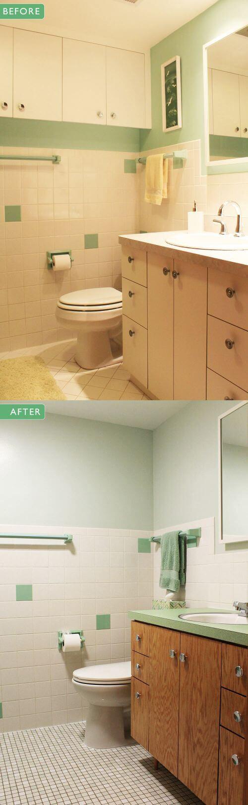 retro green bathroom