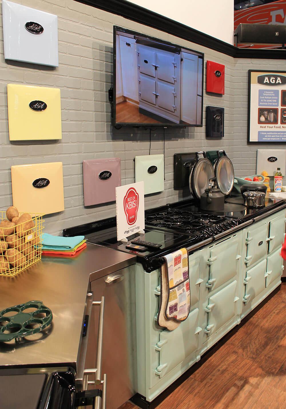 Retro Renovation Kitchen Aga Colorful Ranges And A Retro Kitchen At Kbis Retro Renovation