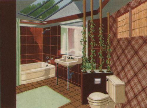 vintage beige bathroom