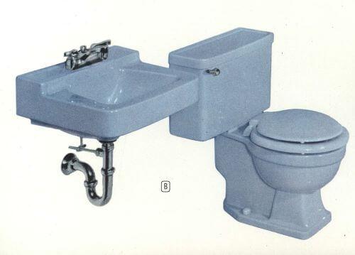 vintage blue bathroom fixtures