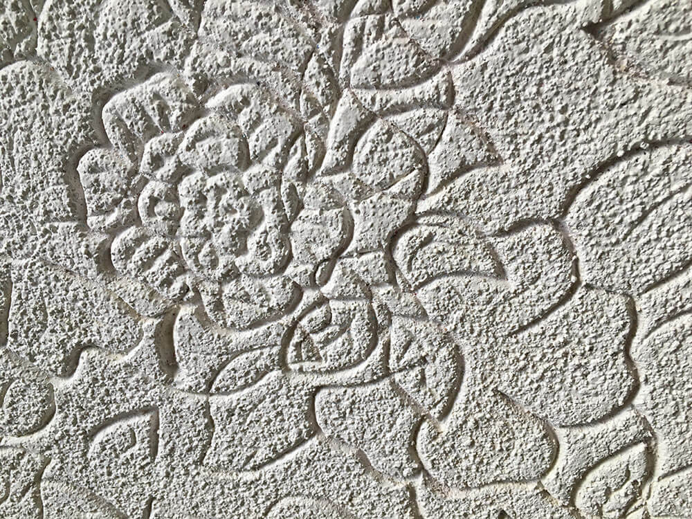 textured flower print ceiling
