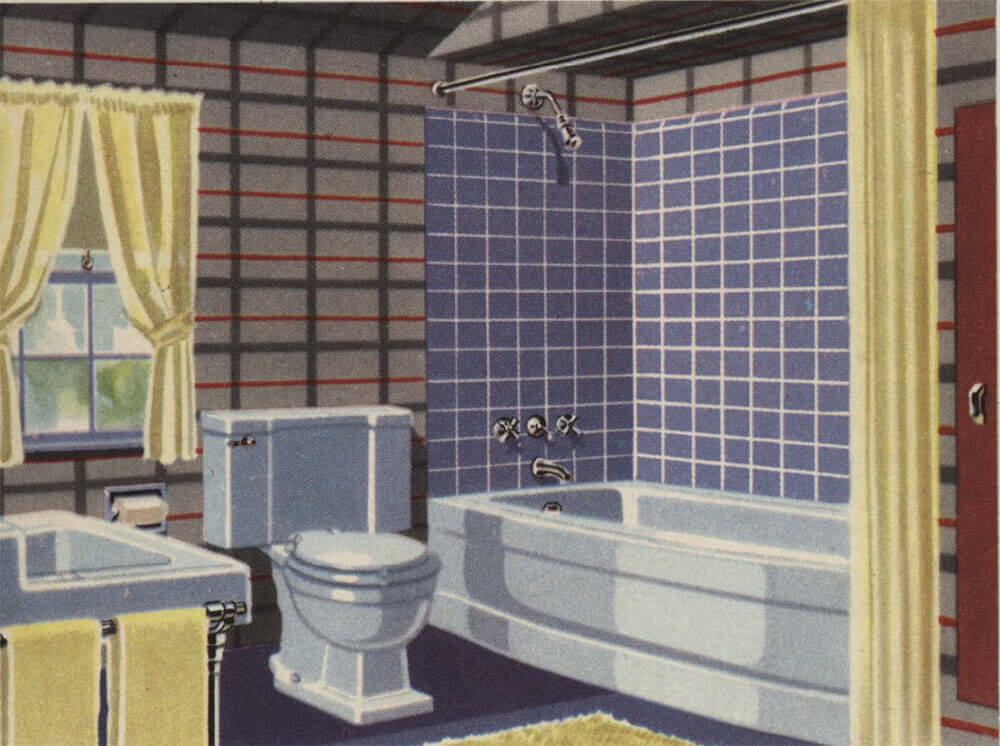 Vintage blue bathroom colors from seven manufacturers from for Sky blue bathroom designs