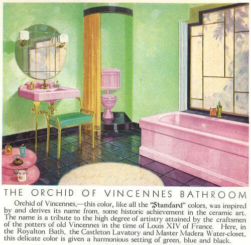 vintage lavendar bathroom