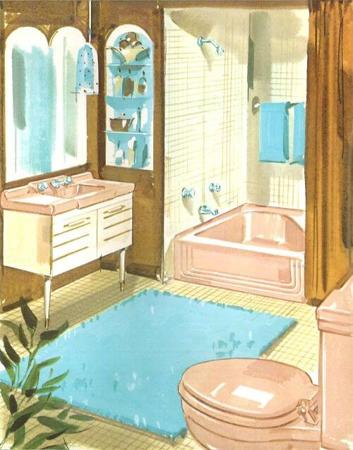 midcentury pink bathroom