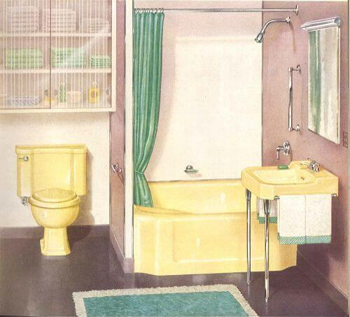 vintage yellowy beige bathroom