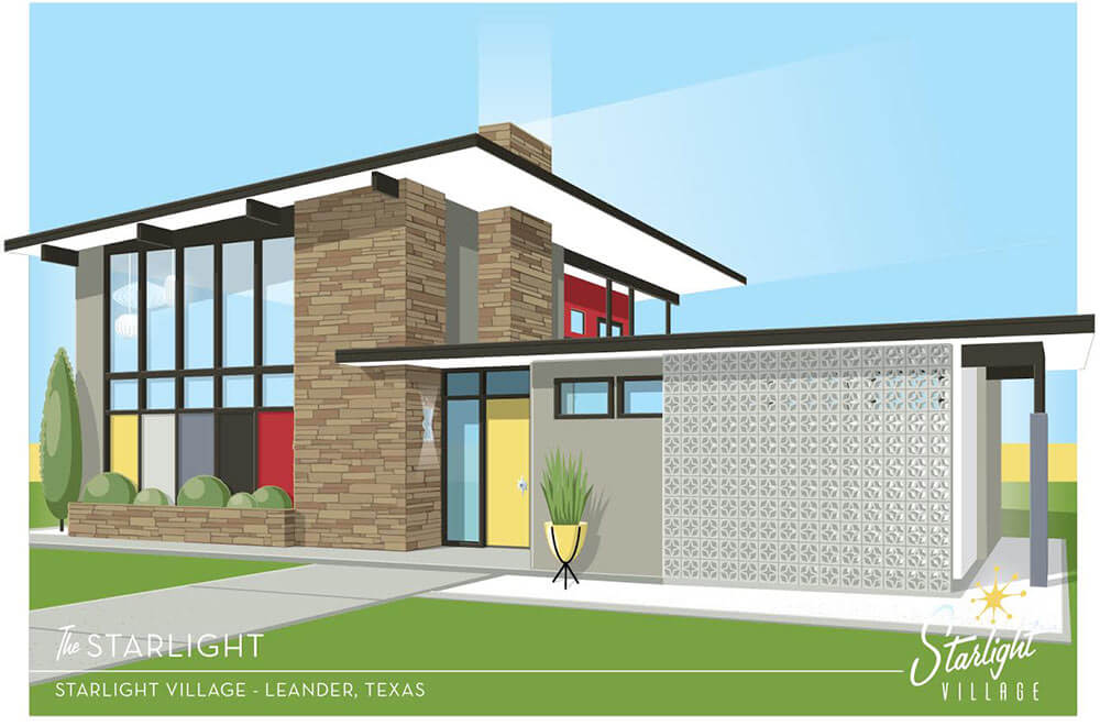 Starlight village a brand new midcentury modern styled for New modern homes in austin tx