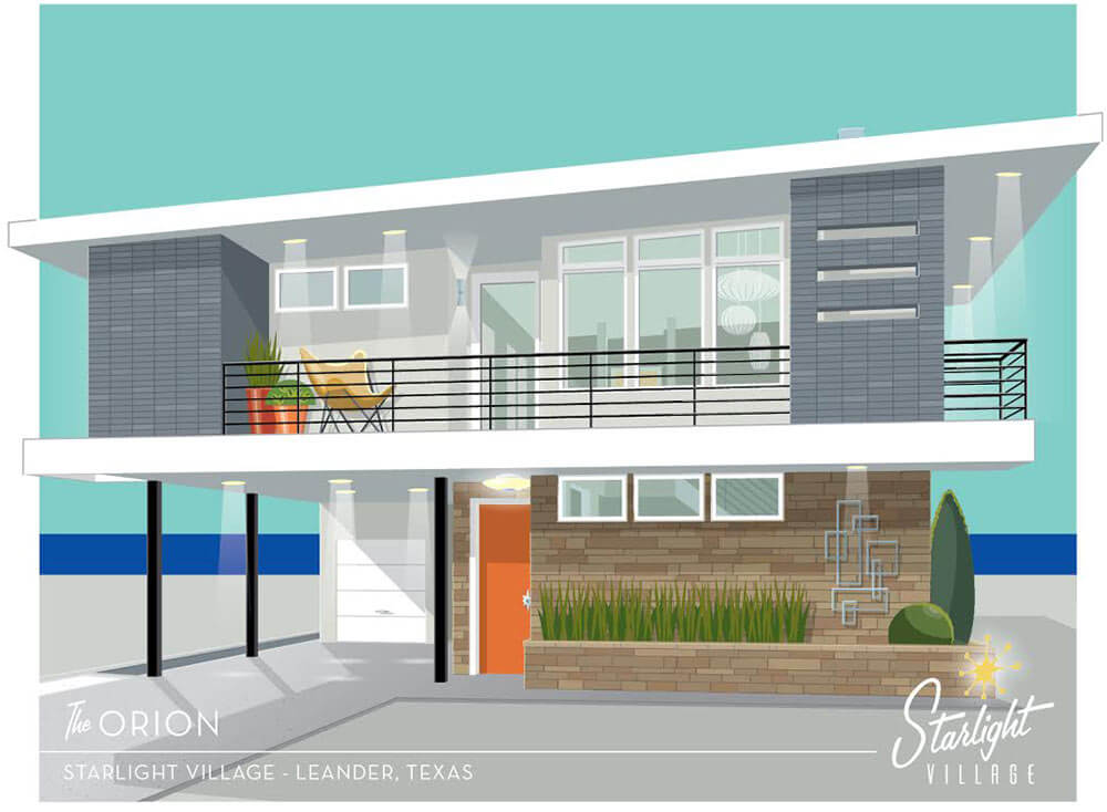 Starlight village a brand new midcentury modern styled for New modern homes