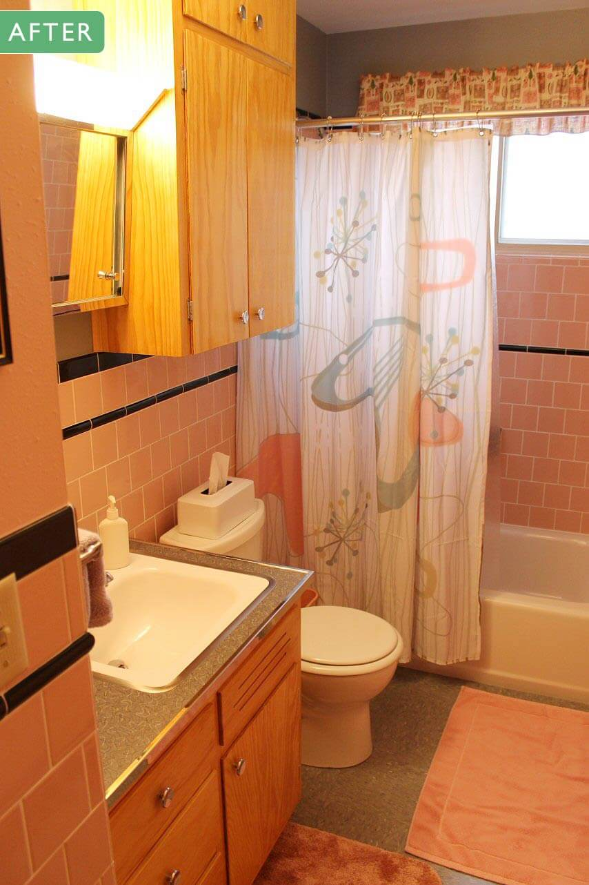 Jim builds a pink and black bathroom inspired by his for Retro bathroom designs