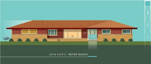 midcentury ranch illustration