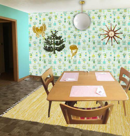 midcentury-wallpaper-dining-area