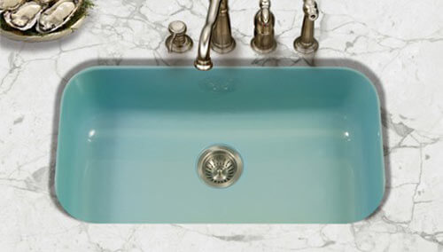 Green Undermount Enamel Kitchen Sink