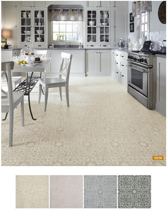 New retro style resilient flooring options from mannington for Commercial kitchen flooring ideas