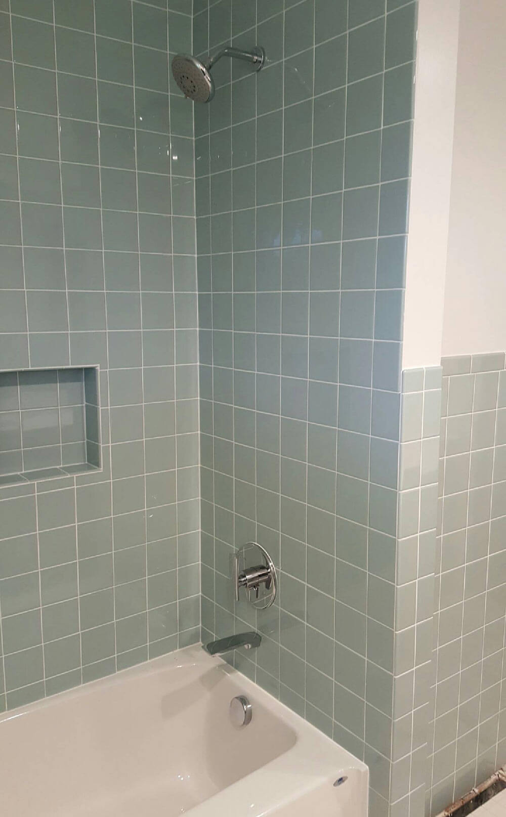 a new blue bathroom for a 1955 house that looks like it u0026 39 s