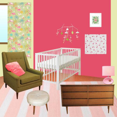 midcentury flamingo nursery