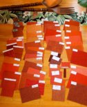 49 samples of orange upholstery for my new midcentury modern sectional — 7 finalists — which to choose?