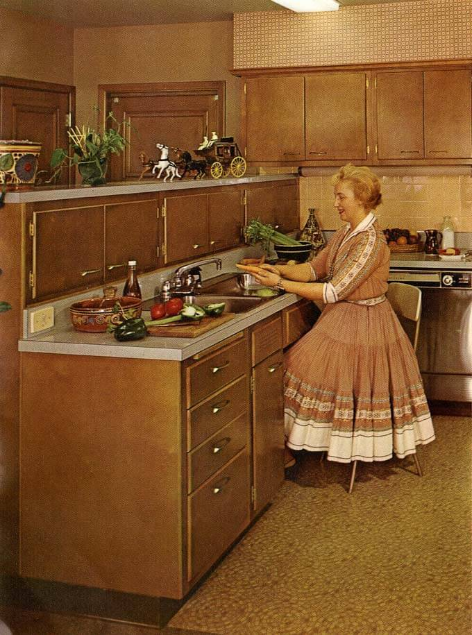 Vintage Wooden Cabinets ~ Were stainless steel appliances use in vintage midcentury