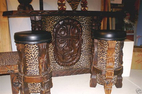 Vintage Witco Tiki bar showing the use of a tiki mask / shield.