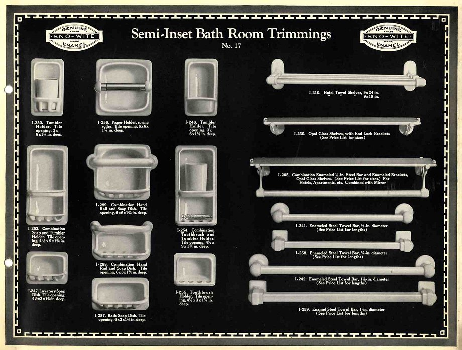 A Complete 1925 Catalog Of Recessed Soap Dishes Towel
