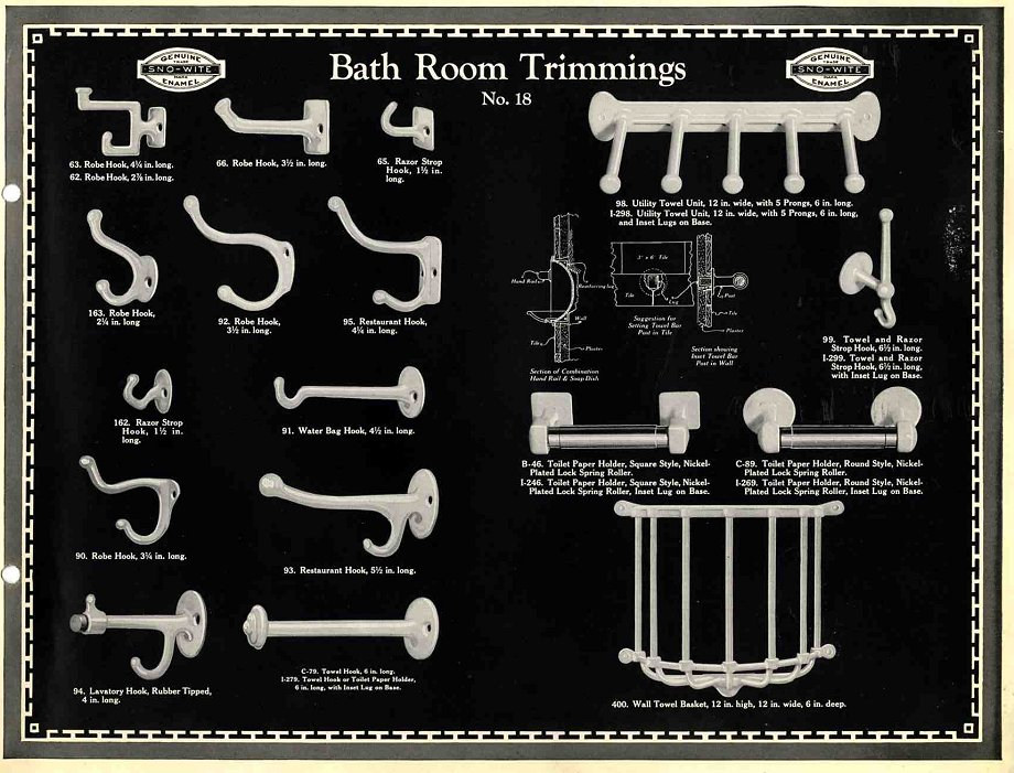Vintage Porcelain Bathroom Hooks518