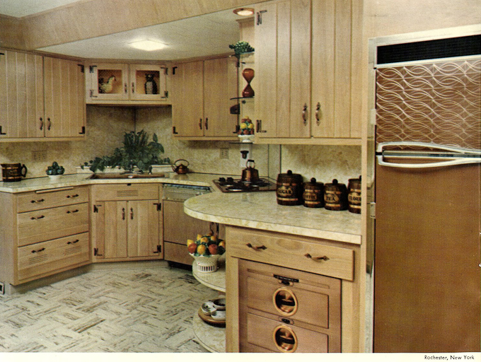 1960s Vintage Wood Mode Kitchen Cabinets