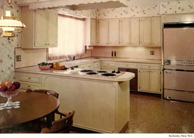60s Vintage Wood Mode Kitchen Cabinets