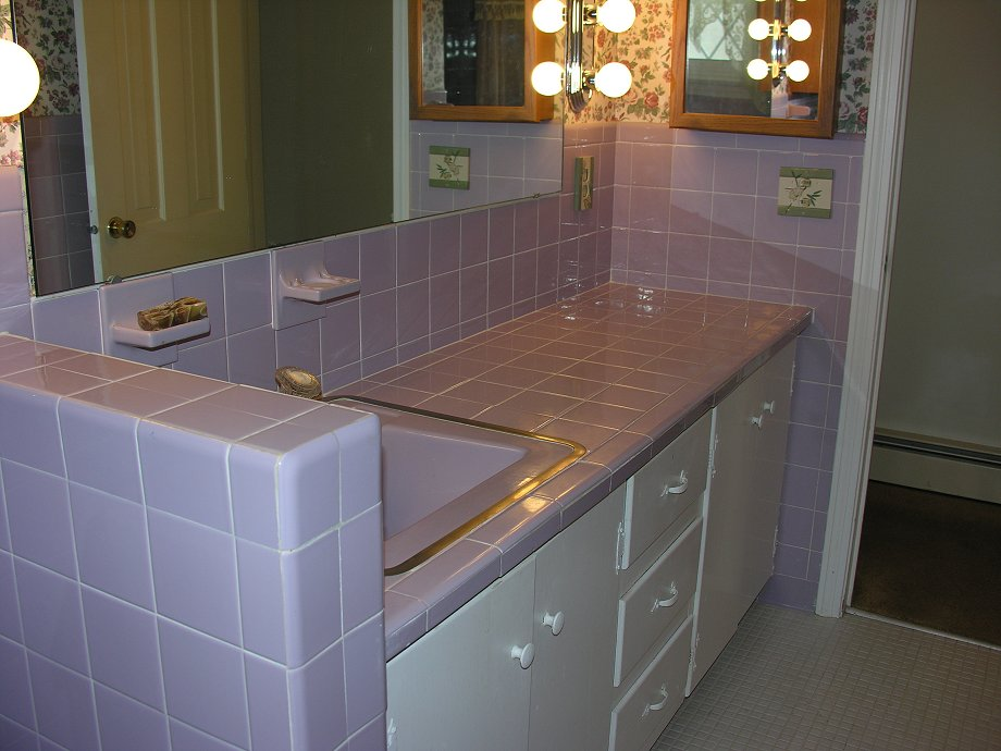 tile bathroom counter lilac bathroom groovy baby 1965 retro renovation 14662