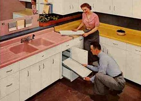 kitchen design history. 1954 american standard pink countertop cropped Retro Kitchen Products and Ideas  Renovation