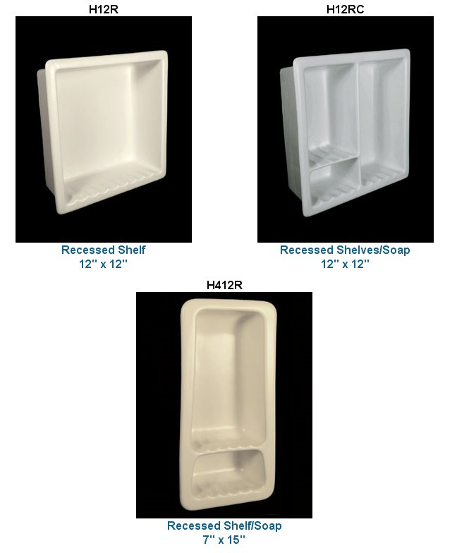Recessed ceramic soap dishes & more in 33 colors from HCP Industries ...