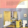 vintage blue and yellow bathroom