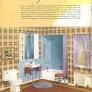 vintage brown and blue bathroom