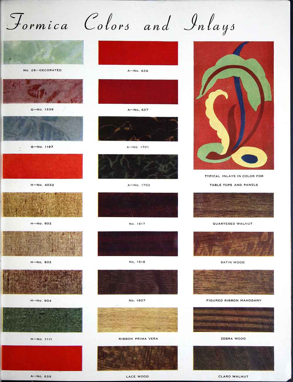 Formica Catalog From 1938 50 Colors