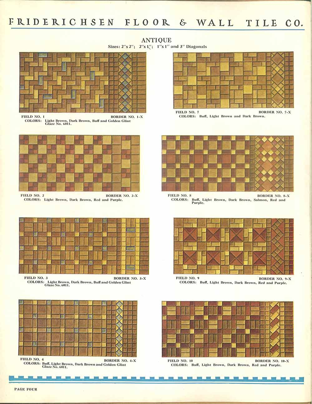 Floor patterns for ceramic tile