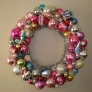wreath made from shiny brite ornaments