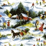 vintage christmas wrapping paper snowy village